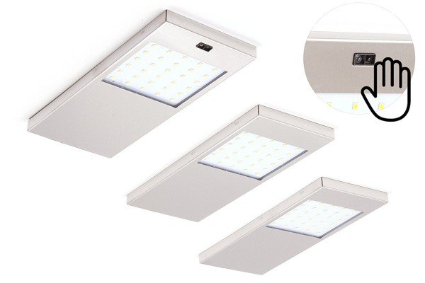 Hochwertiges 3er Set LED Unterbauleuchte Küchenleuchte Aufbauleuchte Küchenlampe 4W Warmweiß mit Sensorschalter
