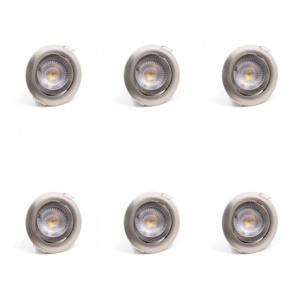 6 x LED Einbauleuchte SL82 Warmweiß Mattchrom 5W Dimmbar