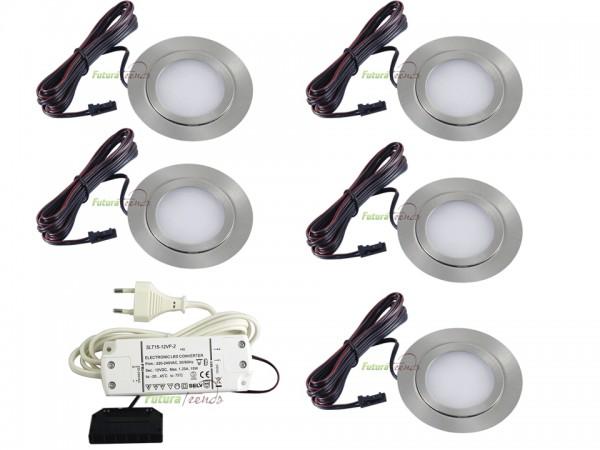 5er Set flache LED Einbauleuchte Möbelleuchte Einbaustrahler SLIM 3W HIGH LED SMD 3000K Warmweiß