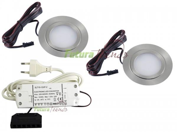 2er Set flache LED Einbauleuchte Möbelleuchte Einbaustrahler SLIM 3W HIGH LED SMD 3000K Warmweiß
