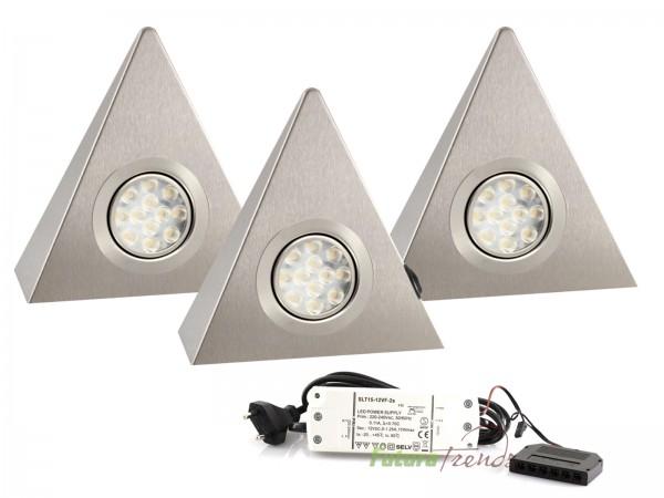 3er Set LED Dreieckleuchte Unterbauleuchte Küchenleuchte EDELSTAHL 3W Warmweiß mit Zentralschalter