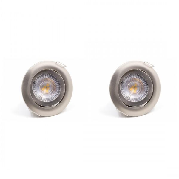 LED Einbauleuchte 2er SET 3000K Warmweiß Matt-chrom 2x 5W Schwenkbar Dimmbar