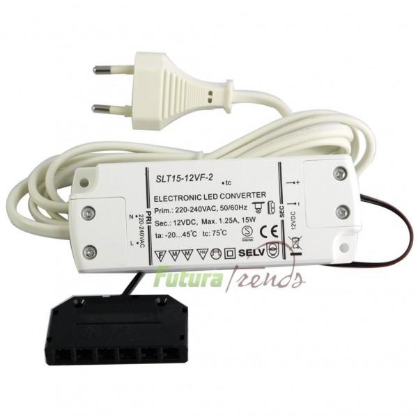 LED Trafo 12V DC 15W EMC Netzteil Treiber 220V - 240V 0,5 - 15 Watt mit mini AMP Stecker und  230V Euro-Stecker