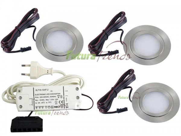 3er Set flache LED Einbauleuchte Möbelleuchte Einbaustrahler SLIM 3W HIGH LED SMD 3000K Warmweiß