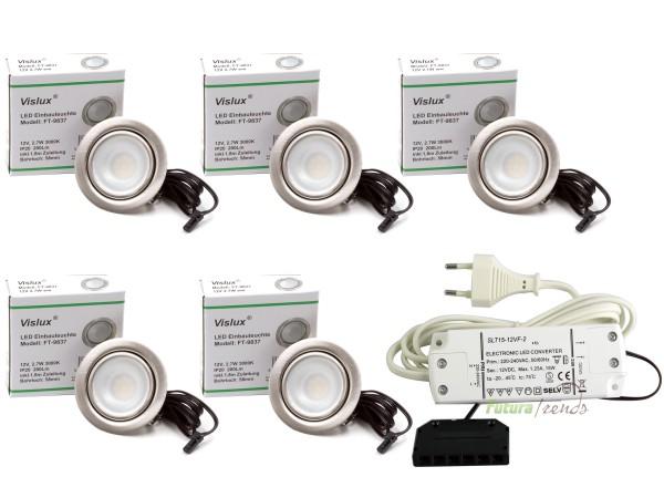 5er Set LED Einbaustrahler Möbelleuchte Möbeleinbaustrahler flach 2,7W LED 12V/ DC warmweiß 3000K