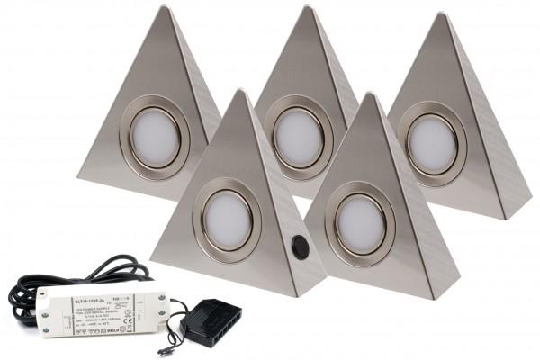 5er Set LED Dreieckleuchte Edelstahl 3W 3000K Warmweiß mit Zentralschalter