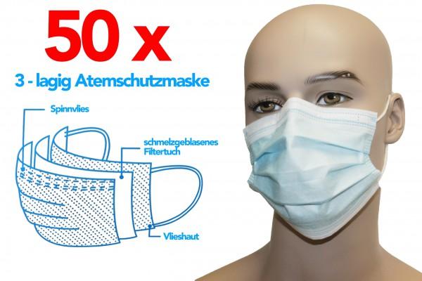 50 x 3 lagig mundschutz maske schutzmaske viren atemschutzmaske und nasenschutz masken virenschutz medizin bakterien schutzmasken