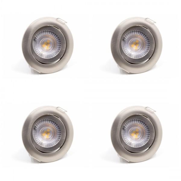 LED Einbauleuchte 4er SET 3000K Warmweiß Matt-chrom 4x 5W Schwenkbar Dimmbar