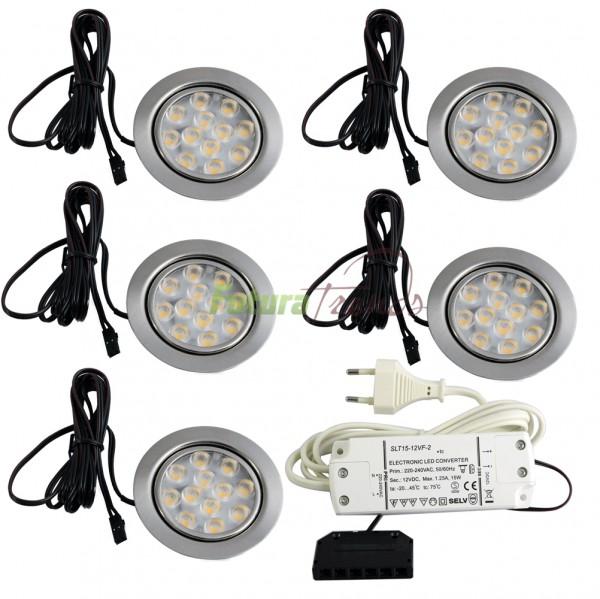 5er Set LED Einbauleuchte Möbelleuchte Einbaustrahler 3W HIGH LED SMD Warmweiß