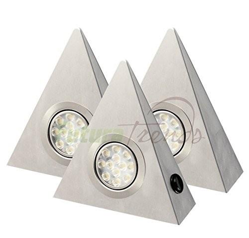 """3er Set LED Dreieckleuchte 3W """"DF1921""""mit Zentralschalter"""