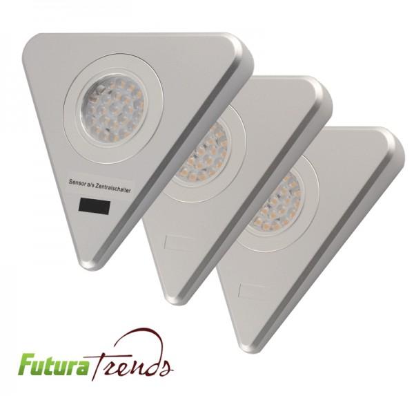 3er Set LED Dreieckleuchte mit Sensorschalter 1,65W