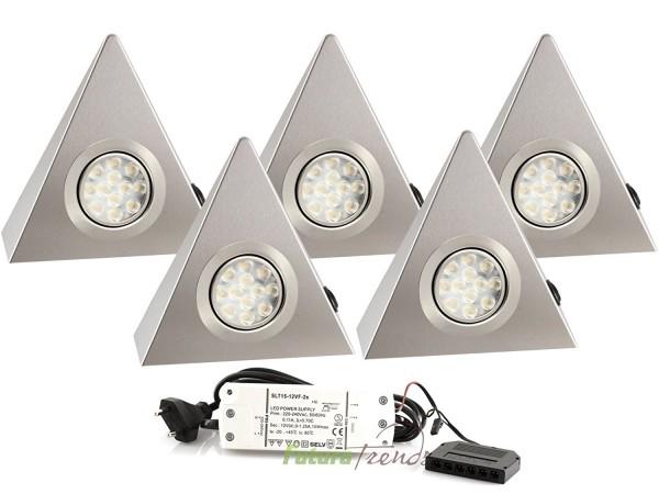 5er Set LED Dreieckleuchte 1021N Edelstahl 3W Warmweiß mit Schalter an jeder Leuchte