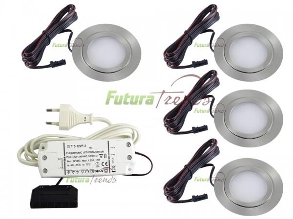 4er Set flache LED Einbauleuchte Möbelleuchte Einbaustrahler SLIM 3W HIGH LED SMD 3000K Warmweiß