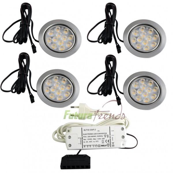 4er Set LED Einbauleuchte Möbelleuchte Einbaustrahler 3W HIGH LED SMD Warmweiß