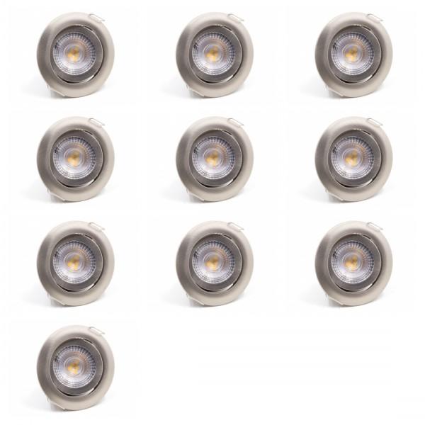 10 x LED Einbauleuchte SL82 Warmweiß Mattchrom 5W Dimmbar