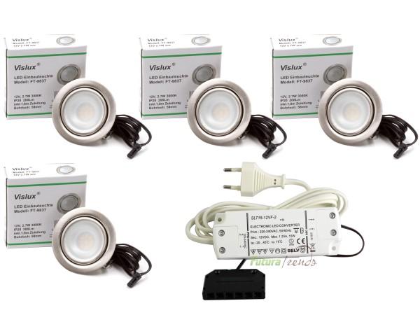 4er Set LED Einbaustrahler Möbelleuchte Möbeleinbaustrahler flach 2,7W LED 12V/ DC warmweiß 3000K