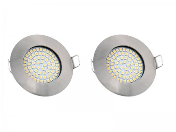 "2er Set LED-Einbauleuchte ""DF-9245-2"", 3,5W, 230V, 3.000K, matt-chrom"