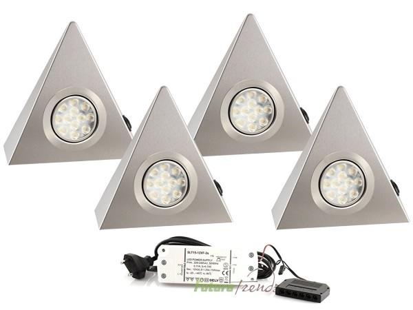 4er Set LED Dreieckleuchte 1021N Edelstahl 3W Warmweiß mit Schalter an jeder Leuchte