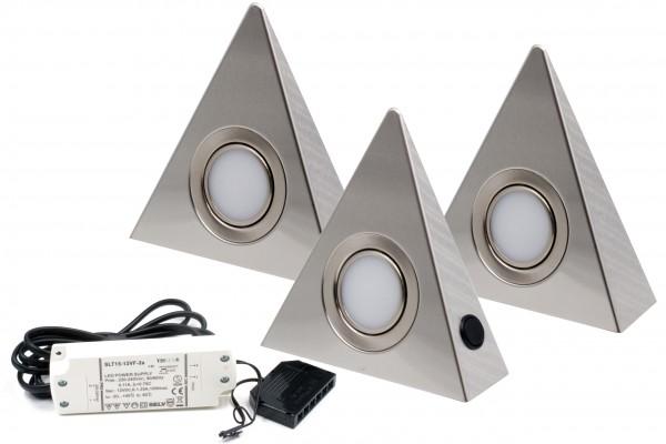 3er Set LED Dreieckleuchte Edelstahl 3W DF 1927 Warmweiß mit Zentralschalter
