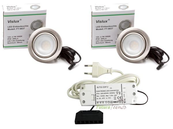 2er Set LED Einbaustrahler Möbelleuchte Möbeleinbaustrahler flach 2,7W LED 12V/ DC warmweiß 3000K /