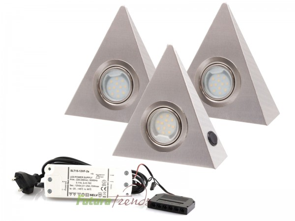 3er Set LED Dreieckleuchte 2,5W Warmweiß mit Zentralschalter
