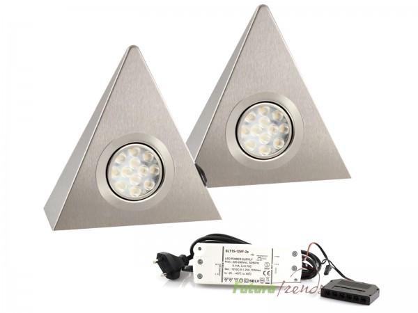 2er Set LED Dreieckleuchte Küchenleuchte Küche LED EDELSTAHL 2x3W Warmweiß 3000K mit Zentralschalter